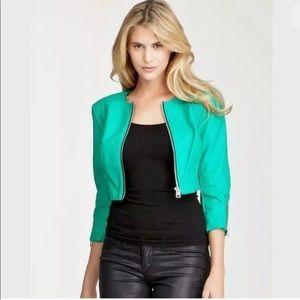 Bebe woman green vegan  short jacket